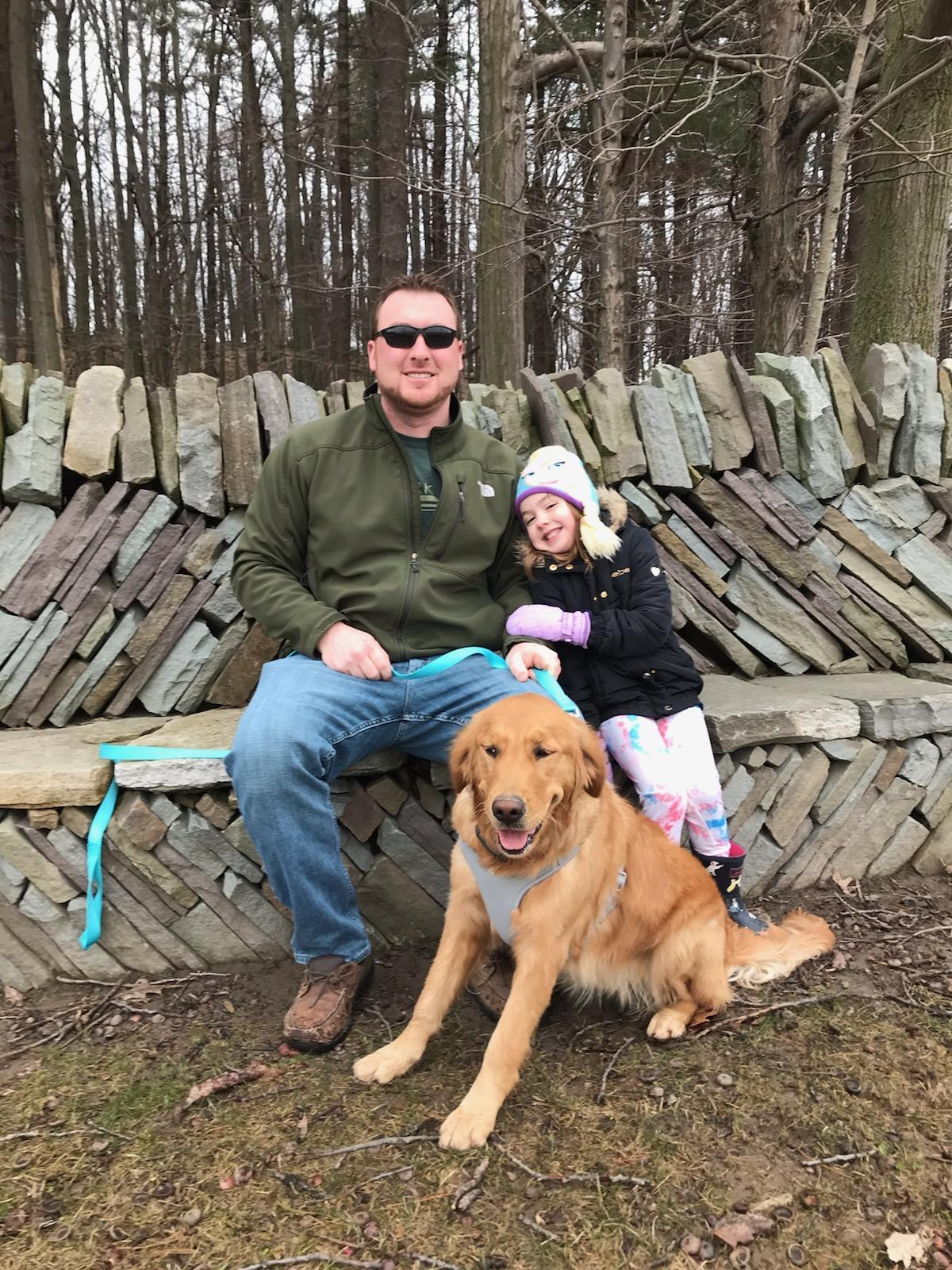 Jake, his daughter Harper and dog Molly visit the MacFarlane Trail at Zenda Farms Preserve