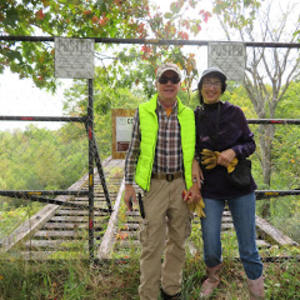 Patty and Bob Mondore at the Rivergate Trestle, courtesy of Singer Castle Blog
